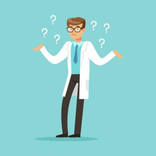 Cartoon Arzt streckt seine Arme mit Fragezeichen neben ihm.